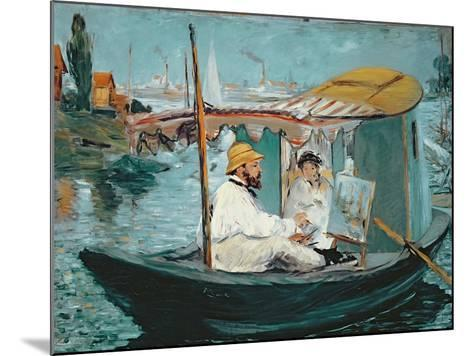 Monet in His Floating Studio, 1874-Edouard Manet-Mounted Giclee Print