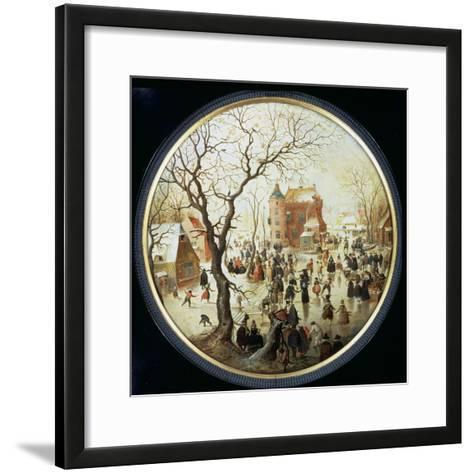 Winter Scene with Skaters Near a Castle, C.1608-09 (Oil on Panel)-Hendrik Avercamp-Framed Art Print