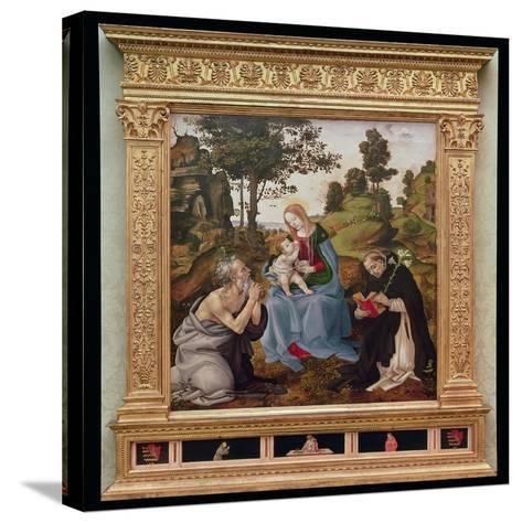 Virgin and Child with St. Jerome and St. Dominic (Oil and Tempera on Panel)-Filippino Lippi-Stretched Canvas Print