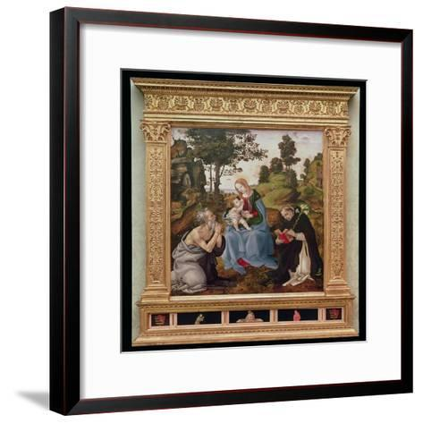 Virgin and Child with St. Jerome and St. Dominic (Oil and Tempera on Panel)-Filippino Lippi-Framed Art Print