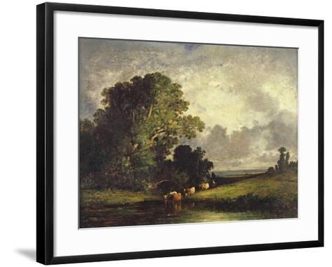 The Watering Place, Fontainebleau-Leon-Victor Dupre-Framed Art Print