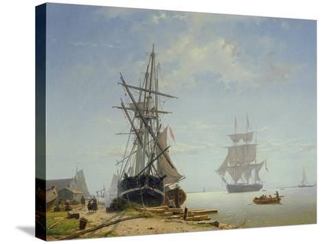Ships in a Dutch Estuary, 19th Century-W.A. van Deventer-Stretched Canvas Print