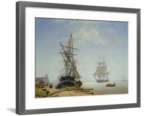 Ships in a Dutch Estuary, 19th Century-W.A. van Deventer-Framed Art Print