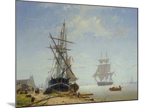 Ships in a Dutch Estuary, 19th Century-W.A. van Deventer-Mounted Giclee Print
