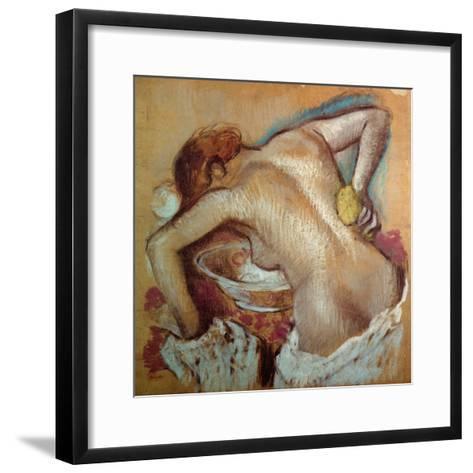 Woman at Her Toilet, C.1894 (Pastel)-Edgar Degas-Framed Art Print