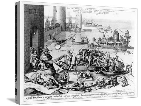 The Happy and Trouble Free Life of the Cripple (Engraving) (B/W Photo)-Hieronymus Bosch-Stretched Canvas Print