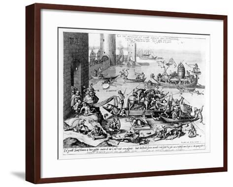 The Happy and Trouble Free Life of the Cripple (Engraving) (B/W Photo)-Hieronymus Bosch-Framed Art Print