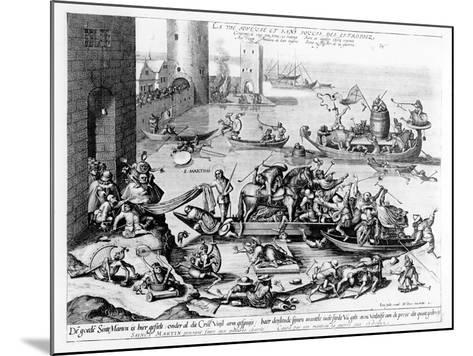 The Happy and Trouble Free Life of the Cripple (Engraving) (B/W Photo)-Hieronymus Bosch-Mounted Giclee Print