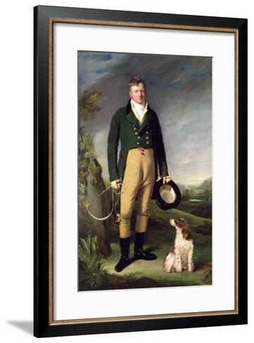An Unknown Man with His Dog, 1815-William Owen-Framed Art Print