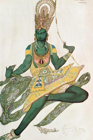 Costume Design for Nijinsky (1889-1950) for His Role as the 'Blue God', 1911 (W/C on Paper)-Leon Bakst-Stretched Canvas Print
