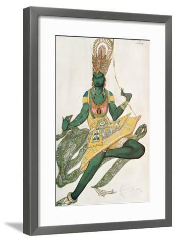 Costume Design for Nijinsky (1889-1950) for His Role as the 'Blue God', 1911 (W/C on Paper)-Leon Bakst-Framed Art Print