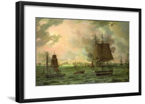The Bombing of Cadiz by the French on 23rd September 1823, 1824-Louis Philippe Crepin-Framed Art Print