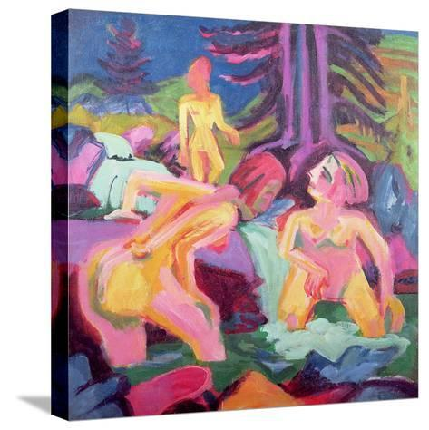 Three Bathers in a Stream-Ernst Ludwig Kirchner-Stretched Canvas Print