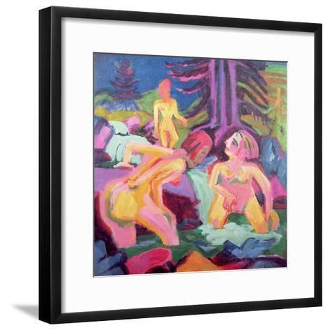 Three Bathers in a Stream-Ernst Ludwig Kirchner-Framed Art Print