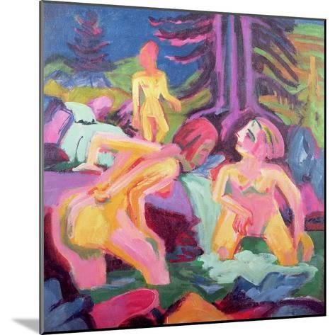 Three Bathers in a Stream-Ernst Ludwig Kirchner-Mounted Giclee Print