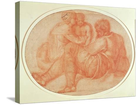 Study of the Holy Family (Red Chalk on Paper)-Michelangelo Buonarroti-Stretched Canvas Print