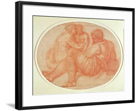 Study of the Holy Family (Red Chalk on Paper)-Michelangelo Buonarroti-Framed Art Print