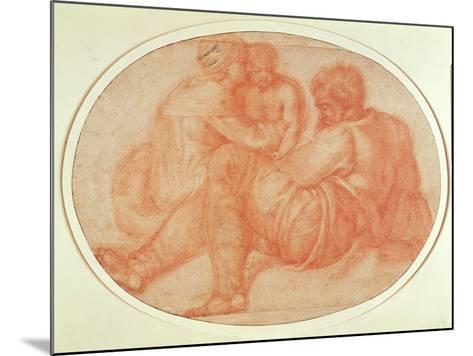 Study of the Holy Family (Red Chalk on Paper)-Michelangelo Buonarroti-Mounted Giclee Print