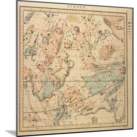 Celestial Chart: Summer, Showing Signs of Zodiac, Positions of Stars and Astrological Instruments--Mounted Giclee Print