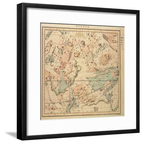 Celestial Chart: Summer, Showing Signs of Zodiac, Positions of Stars and Astrological Instruments--Framed Art Print