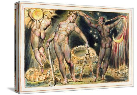 Plate 100 from 'Jerusalem' (Bentley Copy E), 1804-20 (Etching with Pen, W/C and Gold on Paper)-William Blake-Stretched Canvas Print
