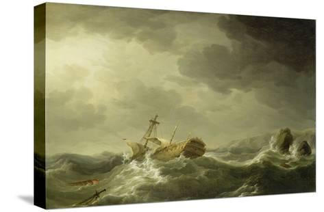 Ship Wrecked on a Rocky Coast, c.1747-50-Charles Brooking-Stretched Canvas Print