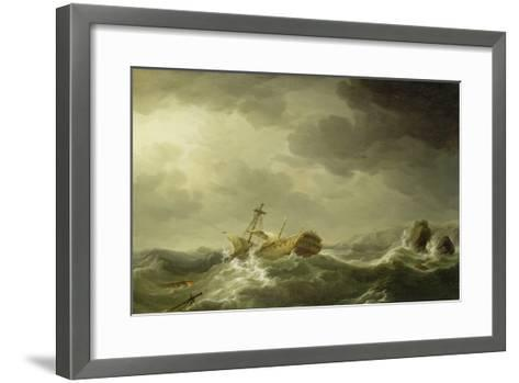Ship Wrecked on a Rocky Coast, c.1747-50-Charles Brooking-Framed Art Print