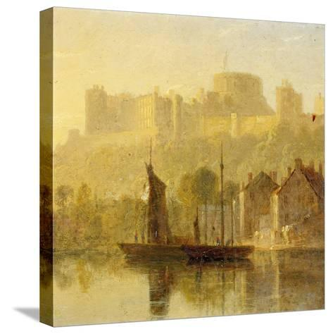 Windsor Castle from the Thames (Oil on Millboard)-William Daniell-Stretched Canvas Print