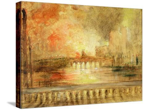 The Burning of the Houses of Parliament, Previously Attributed to J.M.W. Turner (1775-1851)-English-Stretched Canvas Print