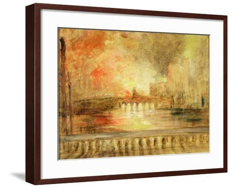 The Burning of the Houses of Parliament, Previously Attributed to J.M.W. Turner (1775-1851)-English-Framed Art Print