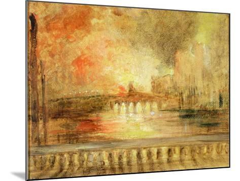 The Burning of the Houses of Parliament, Previously Attributed to J.M.W. Turner (1775-1851)-English-Mounted Giclee Print