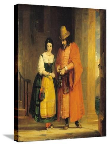 Shylock and Jessica from 'The Merchant of Venice', Act II, Scene II, 1830-Gilbert Stuart Newton-Stretched Canvas Print