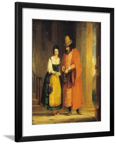 Shylock and Jessica from 'The Merchant of Venice', Act II, Scene II, 1830-Gilbert Stuart Newton-Framed Art Print