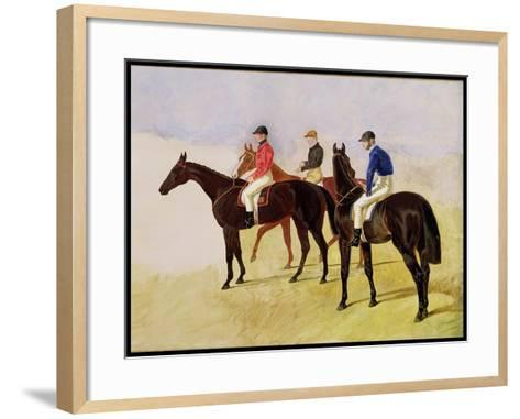 Study of Three Steeplechase Cracks: Allen Mcdonough on Brunette, Tom Oliver on Discount-John Frederick Herring I-Framed Art Print