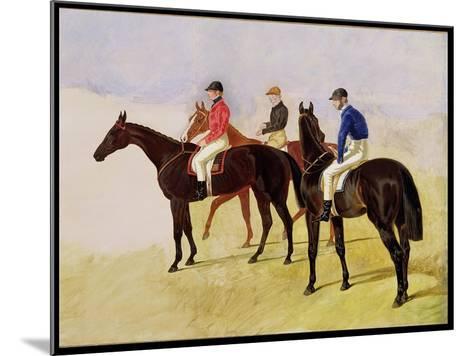 Study of Three Steeplechase Cracks: Allen Mcdonough on Brunette, Tom Oliver on Discount-John Frederick Herring I-Mounted Giclee Print