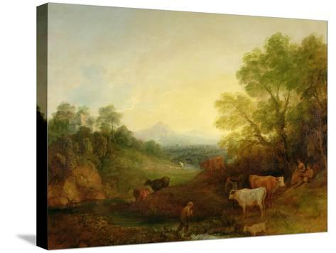 A Landscape with Cattle and Figures by a Stream and a Distant Bridge, c.1772-4-Thomas Gainsborough-Stretched Canvas Print