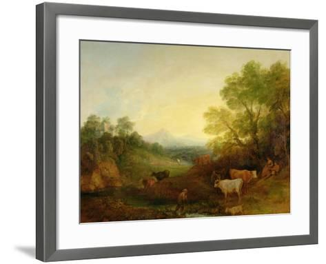 A Landscape with Cattle and Figures by a Stream and a Distant Bridge, c.1772-4-Thomas Gainsborough-Framed Art Print