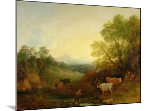 A Landscape with Cattle and Figures by a Stream and a Distant Bridge, c.1772-4-Thomas Gainsborough-Mounted Giclee Print