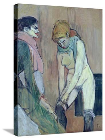 Woman Putting on Her Stocking, or Woman of the House, C.1894 (Oil on Card)-Henri de Toulouse-Lautrec-Stretched Canvas Print
