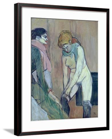 Woman Putting on Her Stocking, or Woman of the House, C.1894 (Oil on Card)-Henri de Toulouse-Lautrec-Framed Art Print