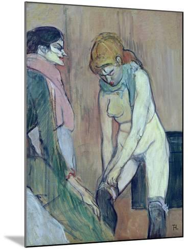 Woman Putting on Her Stocking, or Woman of the House, C.1894 (Oil on Card)-Henri de Toulouse-Lautrec-Mounted Giclee Print