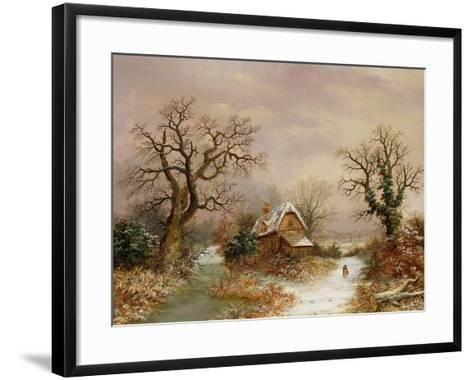 Little Red Riding Hood in the Snow, 19th Century-Charles Leaver-Framed Art Print
