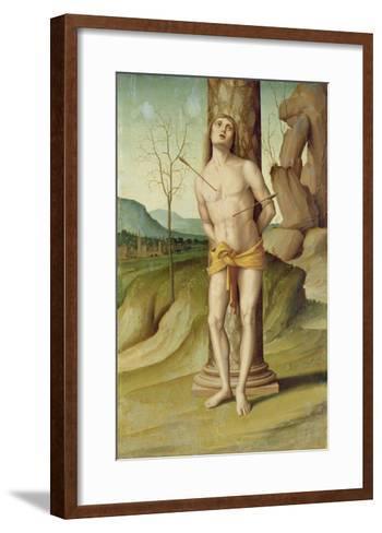 St. Sebastian (Oil on Panel)-Marco Palmezzano-Framed Art Print