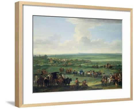 George I (1660-1727) at Newmarket, 4th or 5th October 1717, c.1717-John Wootton-Framed Art Print