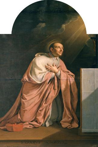 St. Charles Borromeo (1538-84)-Philippe De Champaigne-Stretched Canvas Print