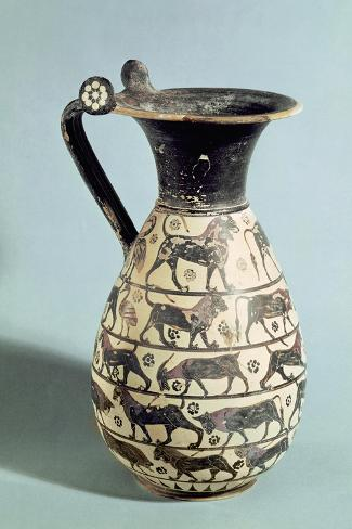 Corinthian Oinochoe Decorated with Lions, from Vulci, C.530-520 BC (Ceramic)-Greek-Stretched Canvas Print