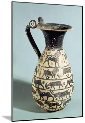 Corinthian Oinochoe Decorated with Lions, from Vulci, C.530-520 BC (Ceramic)-Greek-Mounted Giclee Print