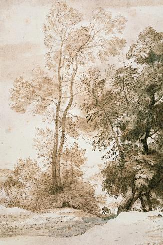Trees and Deer, after Claude, 1825 (Pen and Ink with Wash on Paper)-John Constable-Stretched Canvas Print