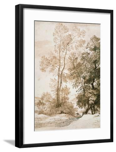 Trees and Deer, after Claude, 1825 (Pen and Ink with Wash on Paper)-John Constable-Framed Art Print
