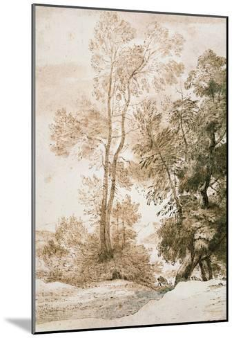 Trees and Deer, after Claude, 1825 (Pen and Ink with Wash on Paper)-John Constable-Mounted Giclee Print